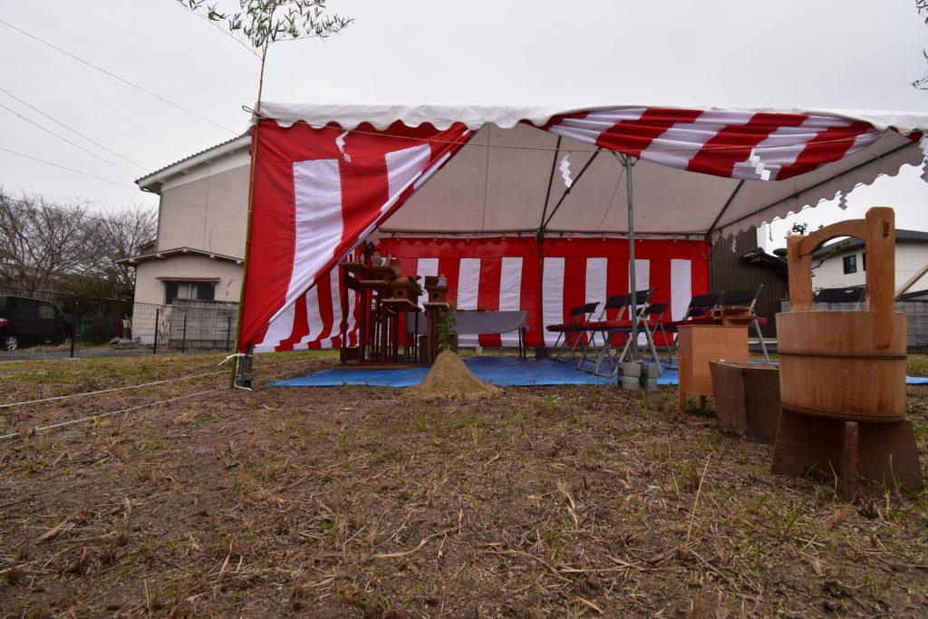 N様邸 地鎮祭 紅白テント
